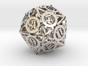 Steampunk Gear d20 in Platinum