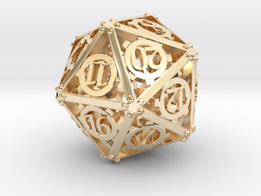 Steampunk d20 in 14K Yellow Gold