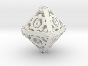 Steampunk d8 in White Natural Versatile Plastic