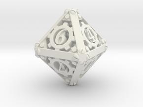 Steampunk d8 in White Natural Versatile Plastic