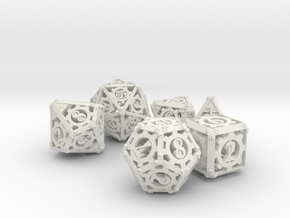 Steampunk Dice Set noD00 in White Natural Versatile Plastic