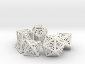 Deathly Hallows Dice Set noD00 in White Strong & Flexible