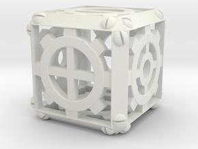 Steampunk Fudge d6 in White Natural Versatile Plastic