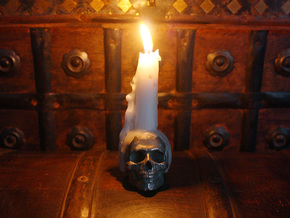 Yorick Skull Candle Holder in Stainless Steel