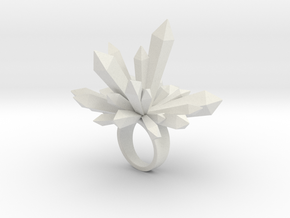 Crystal Shard Ring - Size 8 in White Natural Versatile Plastic