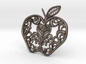 Inside the Apple - Pendant in Polished Bronzed Silver Steel