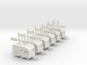 6 kleine Wohnwagen 1:220 (Z scale) in White Natural Versatile Plastic