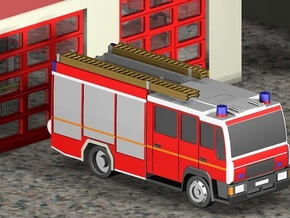 Feuerwehr LHF / Fire truck (Z, 1:220) in Smooth Fine Detail Plastic