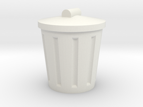Trash Can, Miniature in White Natural Versatile Plastic