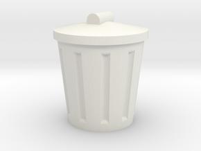 Trash Can, Miniature in White Natural Versatile Plastic