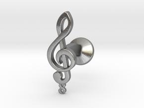 Tenor Treble Clef Cufflink (single) in Natural Silver