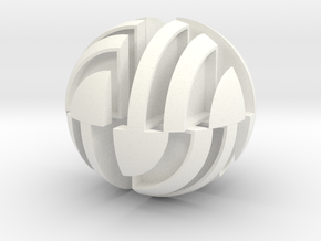 Sphere Version Of Simple Cube Positive 4 Piece in White Processed Versatile Plastic