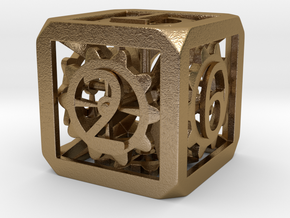 Dice with Gears 39,6mm in Polished Gold Steel