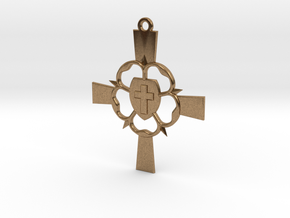 Luther Rose Cross Pendant in Natural Brass