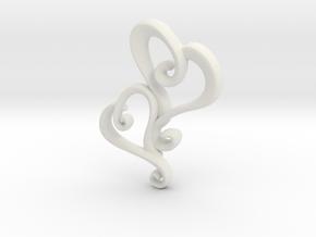 Swirly Hearts Pendant/Keychain in White Natural Versatile Plastic