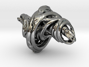 Julia Set Pendant in Fine Detail Polished Silver