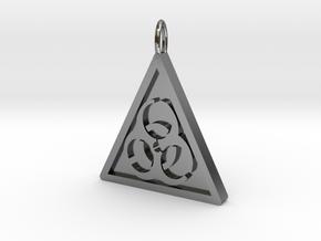 Bio-hazard Pendant in Polished Silver