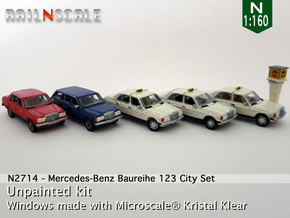 SET 5x Mercedes-Benz W123 - City set (N 1:160) in Smooth Fine Detail Plastic
