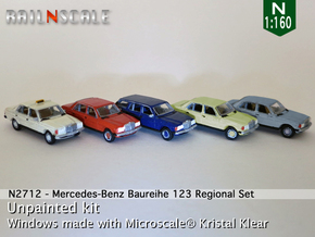 SET 5x Mercedes-Benz W123 - Regional set (N1:160) in Smooth Fine Detail Plastic