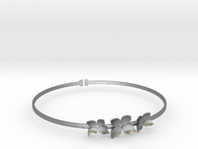 Bracelet - Dogwood Flowers (Size L) in Natural Silver