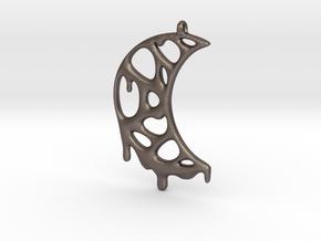 Moon Drop Pendant in Polished Bronzed Silver Steel