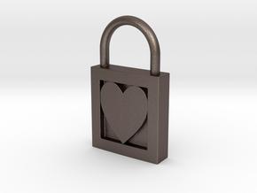 Heart Padlock in Polished Bronzed Silver Steel