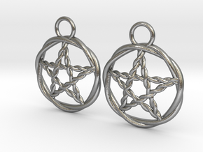 Woven pentacle earrings in Natural Silver
