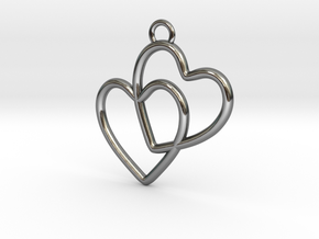 Two Hearts Connected in Premium Silver
