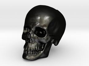 Skull Bead in Matte Black Steel