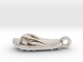Soccer / football flipflop pendant in Platinum