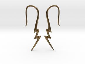 Lightning Bolt Earrings - 14g in Natural Bronze