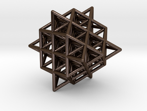 Isometric Vector Matrix - 64 Tetrahedron Grid  in Polished Bronze Steel
