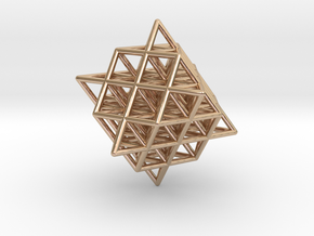 Isometric Vector Matrix - 64 Tetrahedron Grid  in 14k Rose Gold