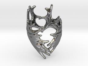 (Size 10) Moose Antler Ring in Fine Detail Polished Silver