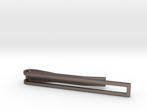 Minimalist Tie Bar in Polished Bronzed Silver Steel