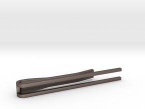 Minimalist Tie Bar - Parallels in Polished Bronzed Silver Steel
