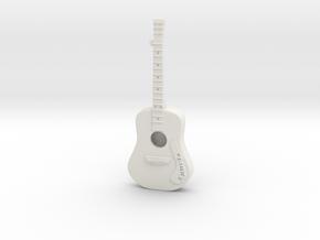 Guitar Pendant in White Natural Versatile Plastic