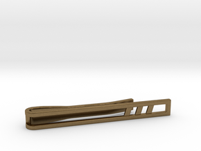 Minimalist Tie Bar - Triple Slash in Natural Bronze