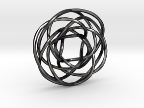 Torus Knot Pendant 1/17/7/12 in Polished and Bronzed Black Steel