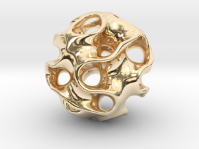 GYROID Spheroid Pendant - 20mm in 14K Yellow Gold