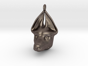 Egyptian Dog Pendant in Polished Bronzed Silver Steel