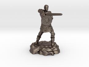 Varis, the Half Elf Fighter Spy in Polished Bronzed Silver Steel