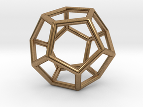 Dodecahedron Pendant in Natural Brass