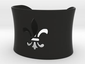 Small Fleur De Lis Bangle in Black Natural Versatile Plastic