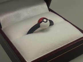 Pokeball Ring-Thin Band (Edit size in description) in Black Acrylic