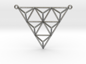 Tetrahedron Pendant 2 in Natural Silver