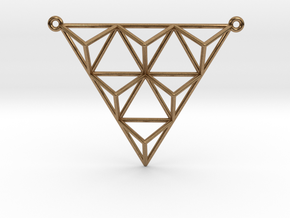 Tetrahedron Pendant 2 in Natural Brass