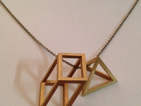 Triangle Pendant - thick in Natural Brass