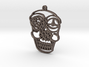 Skull Pendant in Polished Bronzed Silver Steel