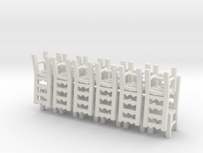 Ladderback Chairs HO Scale X12 in White Natural Versatile Plastic